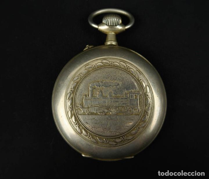 Relojes de bolsillo: Reloj de bolsillo Regulateur de grandes dimensiones para Ferroviarios Francia - Foto 15 - 176203977