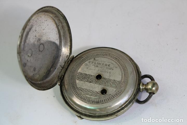 Relojes de bolsillo: reloj de bolsillo antiguo cylindre en plata de ley - Foto 7 - 176233339