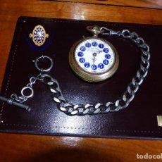 Relojes de bolsillo: GALONES, SISTEMA ROSKOPF, CON CADENA A JUEGO PAVONADA. Lote 176794912