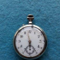 Relojes de bolsillo: RELOJ DE BOLSILLO ANTIGUO CON CAJA DE METAL LABRADA. Lote 176841195