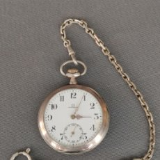 Relojes de bolsillo: RELOJ OMEGA DE PLATA DE BOLSILLO , PLATA DE 800 CON LEONTINA DE 925 , GRAND PRIX PARIS 1900. Lote 177367992