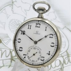 Relojes de bolsillo: OMEGA-RELOJ DE BOLSILLO-2 TAPAS-CIRCA 1924-15 RUBÍES-FUNCIONANDO-MOVIMIENTO 40.6L. Lote 126132119