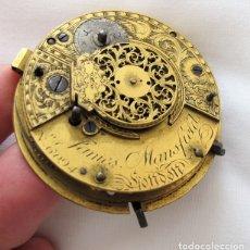 Relojes de bolsillo: MOVIMIENTO GRANDE RELOJ DE BOLSILLO CATALINO VERGE FUSEE SIGLO XVIII LONDON. Lote 177589387