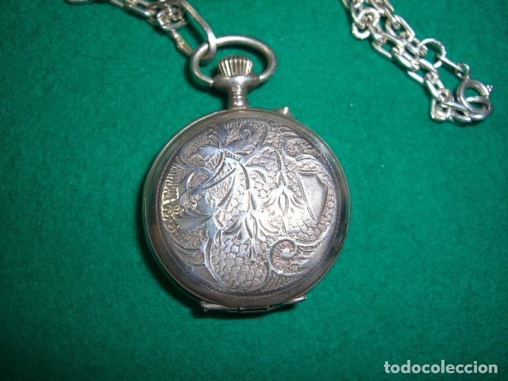 Relojes de bolsillo: Reloj de bolsillo colgante con cadena en plata. - Foto 2 - 177798875