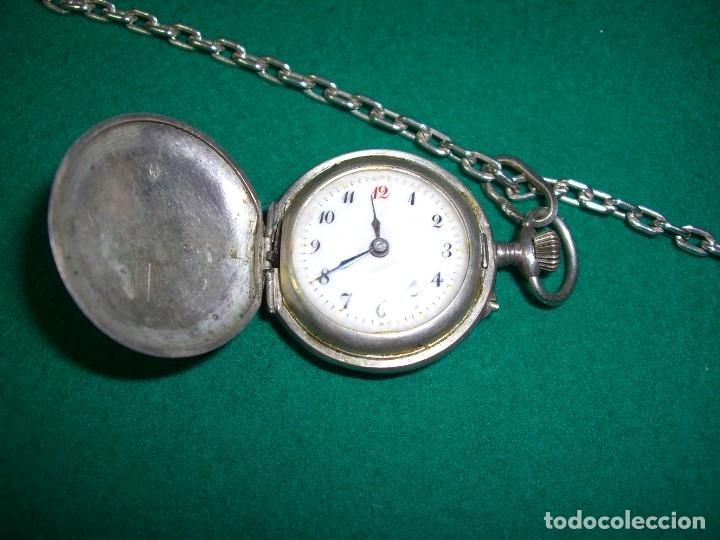 Relojes de bolsillo: Reloj de bolsillo colgante con cadena en plata. - Foto 3 - 177798875