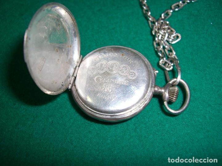 Relojes de bolsillo: Reloj de bolsillo colgante con cadena en plata. - Foto 4 - 177798875