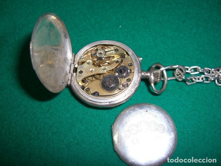 Relojes de bolsillo: Reloj de bolsillo colgante con cadena en plata. - Foto 5 - 177798875