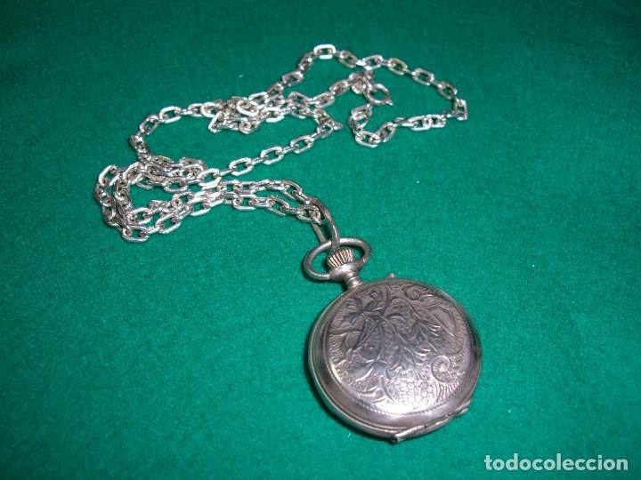 Relojes de bolsillo: Reloj de bolsillo colgante con cadena en plata. - Foto 6 - 177798875