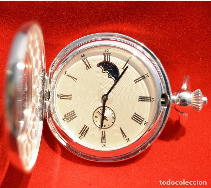 EXCELENTE RELOJ DE BOLSILLO SABONETA EN PLATA FASE LUNAR (Relojes - Bolsillo Carga Manual)