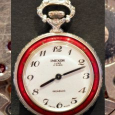 Relojes de bolsillo: RELOJ DE BOLSILLO SUIZO MINIATURA 17 RUBÍS IMEXOR LUXE SWISS MADE CARGA MANUAL Y AUTOMÁTICO . Lote 178259173