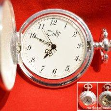 Relojes de bolsillo: RELOJ DE BOLSILLO SABONETA MARCA TULIP PLATA CARGA MANUAL Y AUTOMÁTICO MAQUINARIA VISTA. Lote 178284473