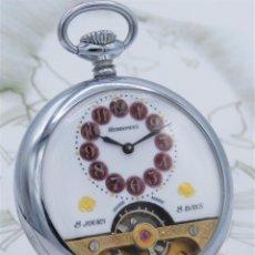 Relojes de bolsillo: HEBDOMAS-PRECIOSO RELOJ DE BOLSILLO 8 DÍAS-SUIZO-FUNCIONANDO. Lote 178821980