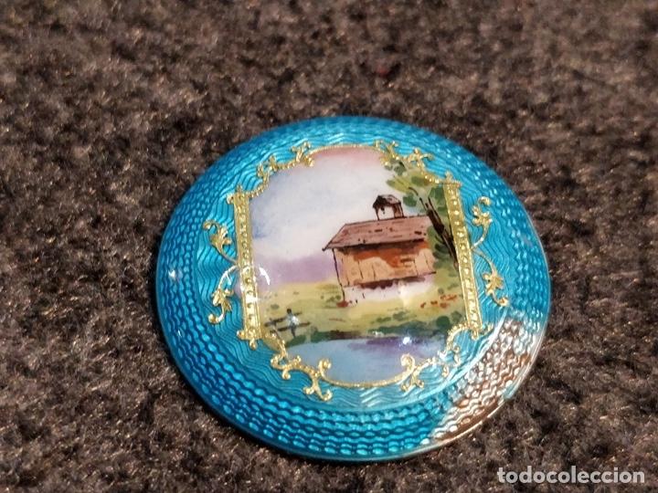 Relojes de bolsillo: ANTIGUA PEANA RELOJERA DE PLATA CON RELOJ DE BOLSILLO EN PLATA ESMALTADO - Foto 5 - 57298909