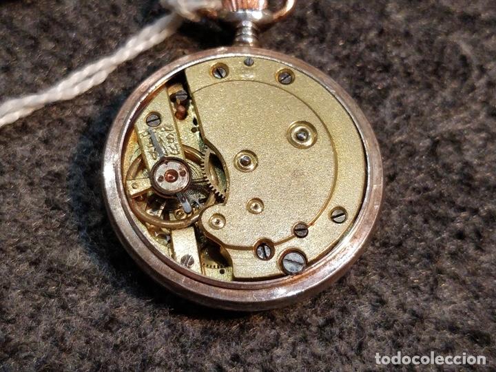 Relojes de bolsillo: ANTIGUA PEANA RELOJERA DE PLATA CON RELOJ DE BOLSILLO EN PLATA ESMALTADO - Foto 6 - 57298909