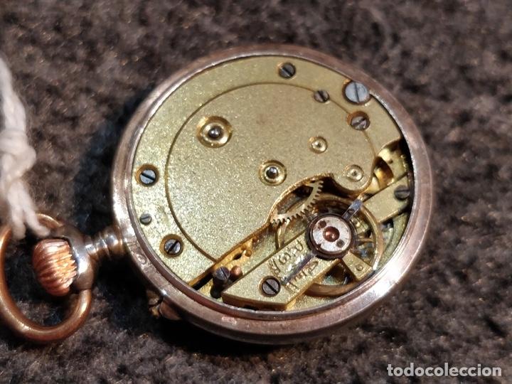 Relojes de bolsillo: ANTIGUA PEANA RELOJERA DE PLATA CON RELOJ DE BOLSILLO EN PLATA ESMALTADO - Foto 7 - 57298909