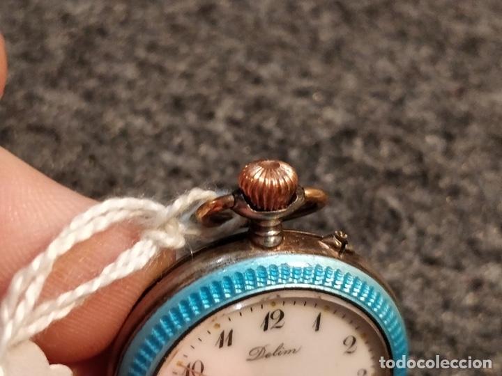 Relojes de bolsillo: ANTIGUA PEANA RELOJERA DE PLATA CON RELOJ DE BOLSILLO EN PLATA ESMALTADO - Foto 8 - 57298909