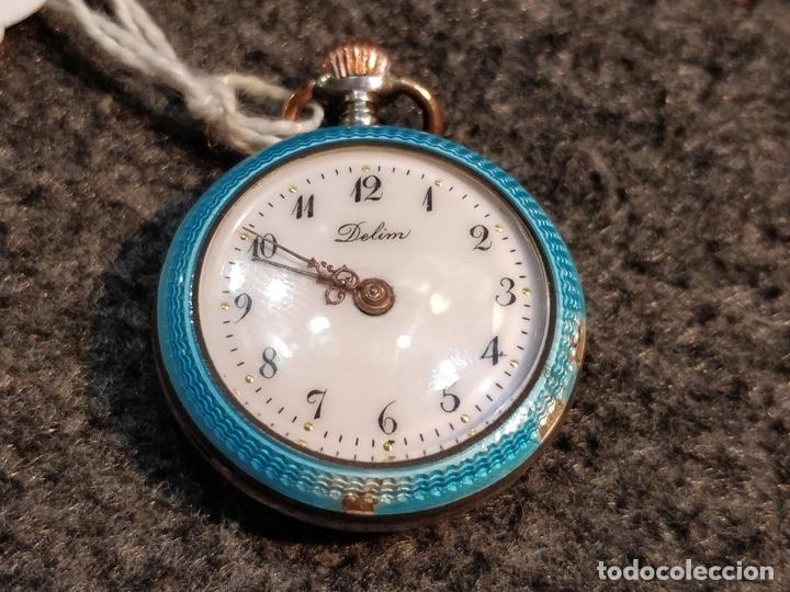 Relojes de bolsillo: ANTIGUA PEANA RELOJERA DE PLATA CON RELOJ DE BOLSILLO EN PLATA ESMALTADO - Foto 9 - 57298909