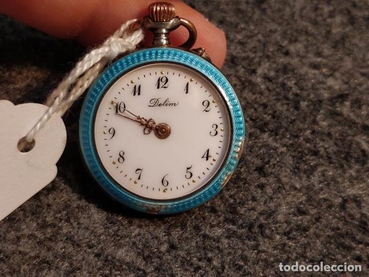 Relojes de bolsillo: ANTIGUA PEANA RELOJERA DE PLATA CON RELOJ DE BOLSILLO EN PLATA ESMALTADO - Foto 10 - 57298909