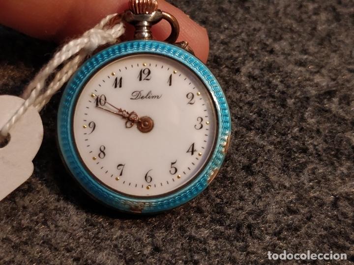 Relojes de bolsillo: ANTIGUA PEANA RELOJERA DE PLATA CON RELOJ DE BOLSILLO EN PLATA ESMALTADO - Foto 11 - 57298909