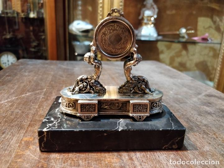 Relojes de bolsillo: ANTIGUA PEANA RELOJERA DE PLATA CON RELOJ DE BOLSILLO EN PLATA ESMALTADO - Foto 19 - 57298909