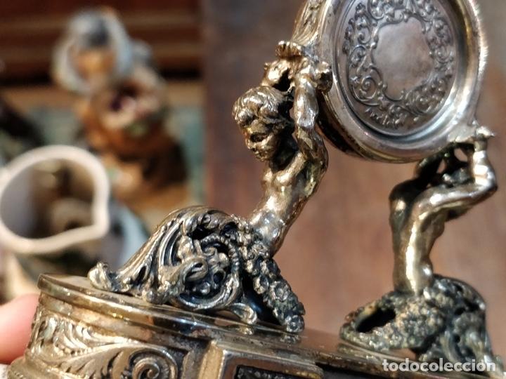 Relojes de bolsillo: ANTIGUA PEANA RELOJERA DE PLATA CON RELOJ DE BOLSILLO EN PLATA ESMALTADO - Foto 23 - 57298909