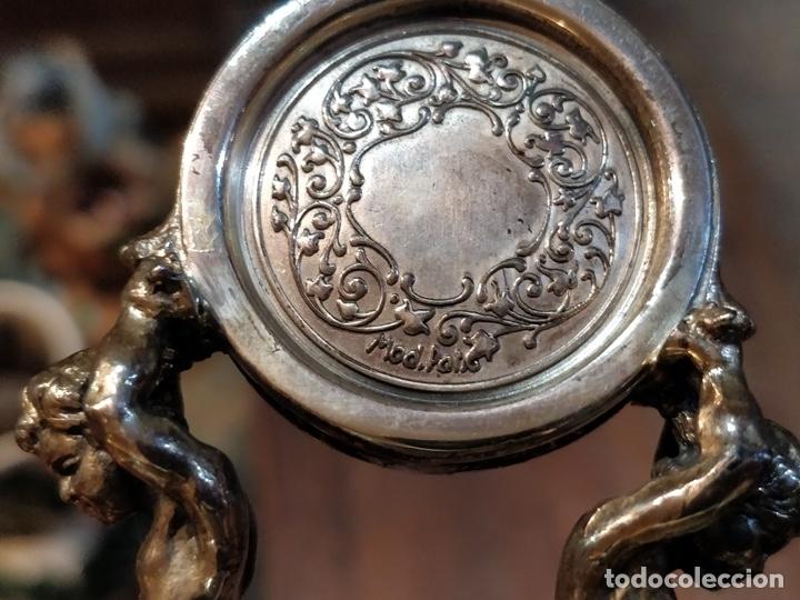 Relojes de bolsillo: ANTIGUA PEANA RELOJERA DE PLATA CON RELOJ DE BOLSILLO EN PLATA ESMALTADO - Foto 24 - 57298909