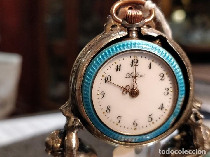 Relojes de bolsillo: ANTIGUA PEANA RELOJERA DE PLATA CON RELOJ DE BOLSILLO EN PLATA ESMALTADO - Foto 3 - 57298909