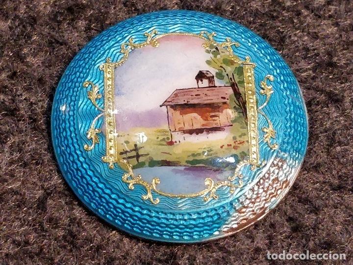 Relojes de bolsillo: ANTIGUA PEANA RELOJERA DE PLATA CON RELOJ DE BOLSILLO EN PLATA ESMALTADO - Foto 4 - 57298909