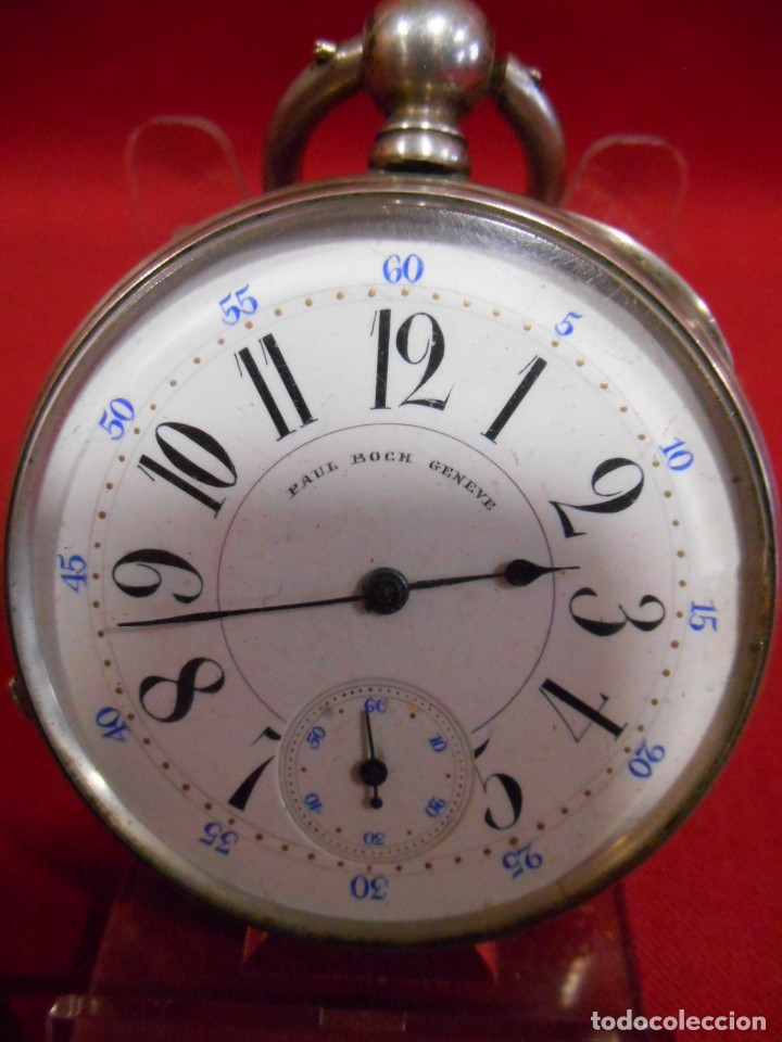 RELOJ DE BOLSILLO DE PLATA MARCA - PAUL BOCH GENEVE - DIAMETRO 55 MM - (Relojes - Bolsillo Carga Manual)