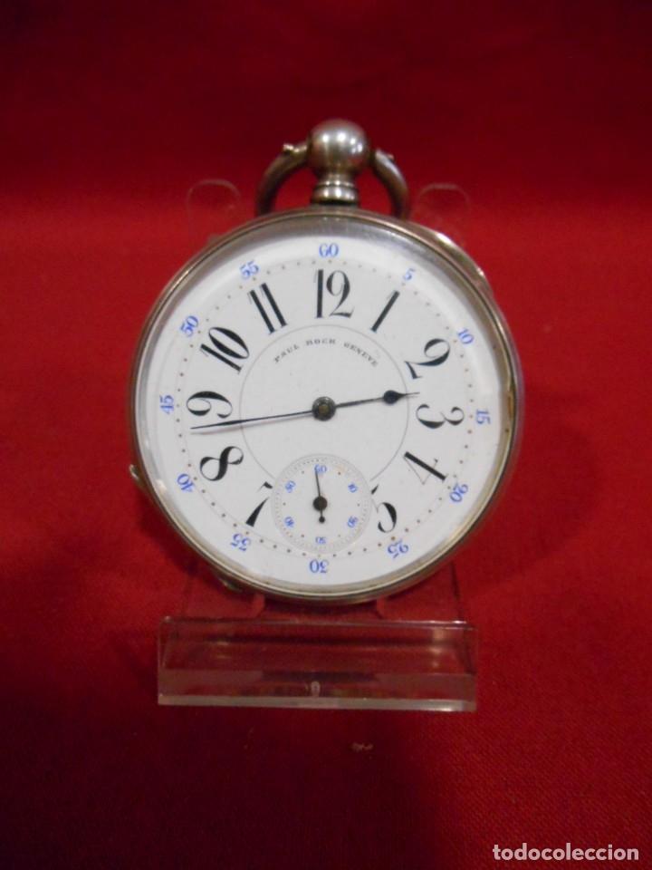 Relojes de bolsillo: RELOJ DE BOLSILLO DE PLATA MARCA - PAUL BOCH GENEVE - DIAMETRO 55 MM - - Foto 2 - 179180055