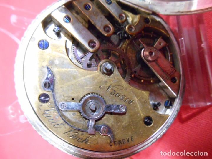 Relojes de bolsillo: RELOJ DE BOLSILLO DE PLATA MARCA - PAUL BOCH GENEVE - DIAMETRO 55 MM - - Foto 7 - 179180055