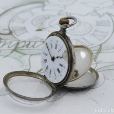 Relojes de bolsillo: RELOJ DE BOLSILLO-8 RUBÍES-DE PLATA-3 TAPAS-SUIZO- DE CILINDRO-CIRCA 1870-1890-FUNCIONANDO. Lote 179198366