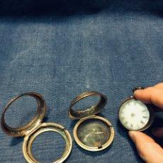 Relojes de bolsillo: RELOJ CATALINO MITAD S XVIII FALTA MAQUINARIA AGUJAS DESPIECE LATON DORADO TRES CAJAS VIAJE 55MM. Lote 179236763