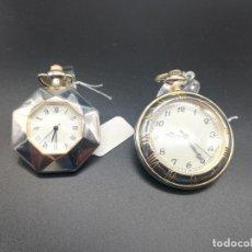 Relojes de bolsillo: DOS RELOJES BOLSILLO QUARZ FUNCIONANDO PILA NUEVA MEDIDAS 4X4CM PESO 28 GR. Lote 110193743