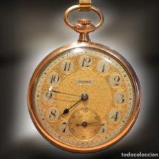 Relojes de bolsillo: ANTIGUO RELOJ DE BOLSILLO CARGA MANUAL MARCA PALMA PLAQUE DE ORO 14K. Lote 179958875