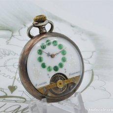 Relojes de bolsillo: HEBDOMAS-RELOJ DE BOLSILLO-DE PLATA-CIRCA 1910-FUNCIONANDO. Lote 180030667