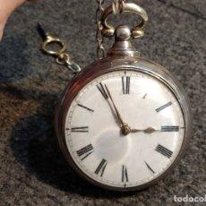 Relojes de bolsillo: RELOJ DE BOLSILLO PLATA BIRMINGHAM AÑO 1840 CATALINA FUNCIONANDO.. Lote 56144321