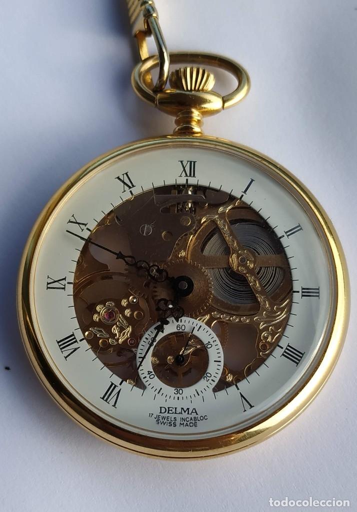 Relojes de bolsillo: Reloj Delma de bolsillo. Reloj suizo mecánico. Swiss pocket watch. - Foto 4 - 180125636