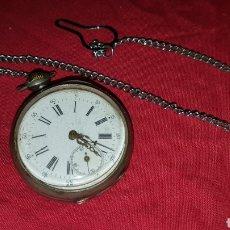 Relojes de bolsillo: ANTIGUO RELOJ BOLSILLO PLATA CON CADENA. Lote 180289302