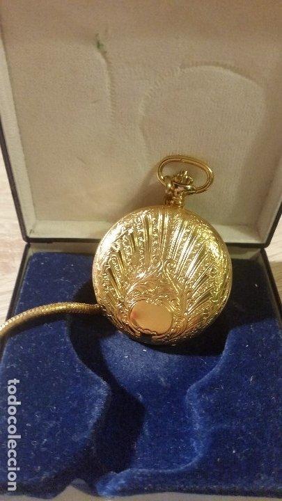 EXPLENDIDO RELOGIO DE BOLSILLO EVER SWISSE QUARTZ TEM CALENDARIO LAKADO ORO (Relojes - Bolsillo Carga Manual)