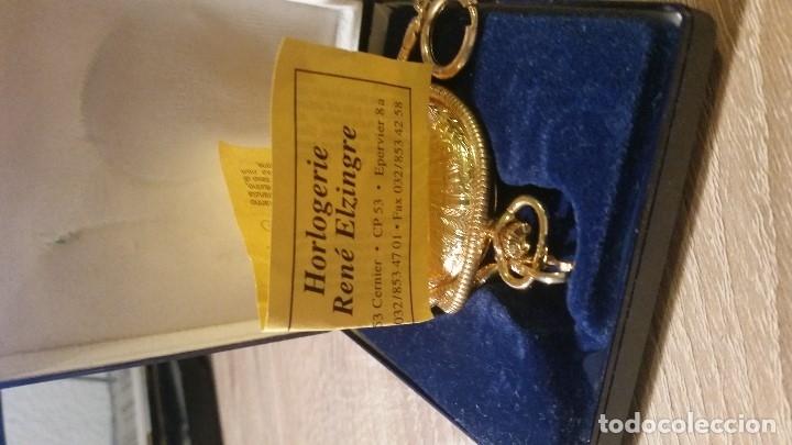 Relojes de bolsillo: EXPLENDIDO RELOGIO DE BOLSILLO EVER SWISSE QUARTZ TEM CALENDARIO LAKADO ORO - Foto 3 - 180428430
