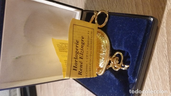 Relojes de bolsillo: EXPLENDIDO RELOGIO DE BOLSILLO EVER SWISSE QUARTZ TEM CALENDARIO LAKADO ORO - Foto 4 - 180428430