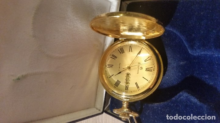 Relojes de bolsillo: EXPLENDIDO RELOGIO DE BOLSILLO EVER SWISSE QUARTZ TEM CALENDARIO LAKADO ORO - Foto 6 - 180428430