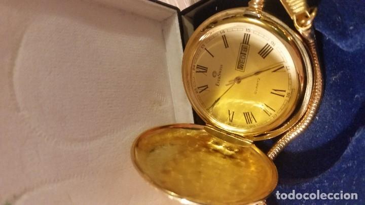 Relojes de bolsillo: EXPLENDIDO RELOGIO DE BOLSILLO EVER SWISSE QUARTZ TEM CALENDARIO LAKADO ORO - Foto 7 - 180428430