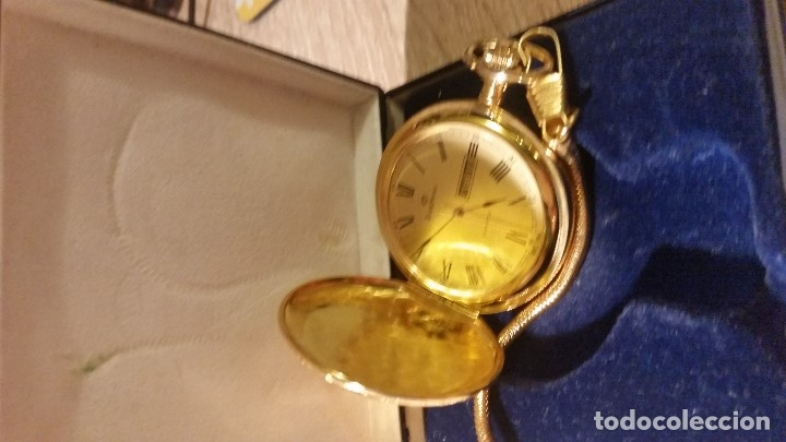 Relojes de bolsillo: EXPLENDIDO RELOGIO DE BOLSILLO EVER SWISSE QUARTZ TEM CALENDARIO LAKADO ORO - Foto 8 - 180428430
