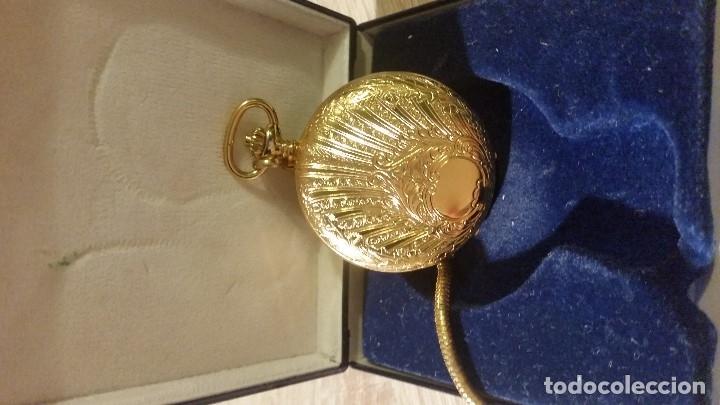 Relojes de bolsillo: EXPLENDIDO RELOGIO DE BOLSILLO EVER SWISSE QUARTZ TEM CALENDARIO LAKADO ORO - Foto 9 - 180428430