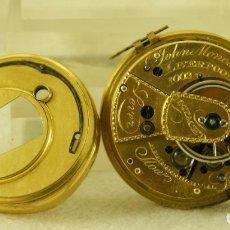 Relojes de bolsillo: IMPRESIONANTE MAQUINA JOHN MONKAS LIVERPOOL SXVIII FUSEE DIAMANTE EN CENTRO CON ESFERA. Lote 180488698