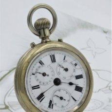 Relojes de bolsillo: RELOJ DE BOLSILLO CALENDARIO-4 ESFERAS-RAILWAY REGULATOR-CIRCA 1880-1900-FUNCIONANDO. Lote 181207093