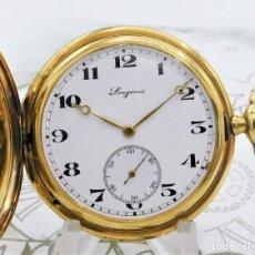 Relojes de bolsillo: LONGINES-FANTÁSTICO RELOJ DE BOLSILLO DE ORO 18K-SABONETA-CIRCA 1928-FUNCIONANDO. Lote 181218592