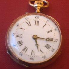 Relojes de bolsillo: ANTIGUO RELOJ DE BOLSILLO DE SEÑORA, DE ORO DE 18K. Lote 181497765